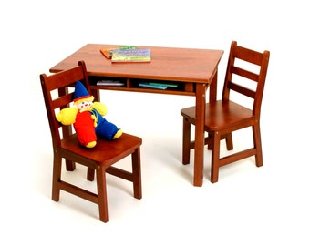 Kid's Table and Chair Set with Storage Shelves - Various Finishes Available