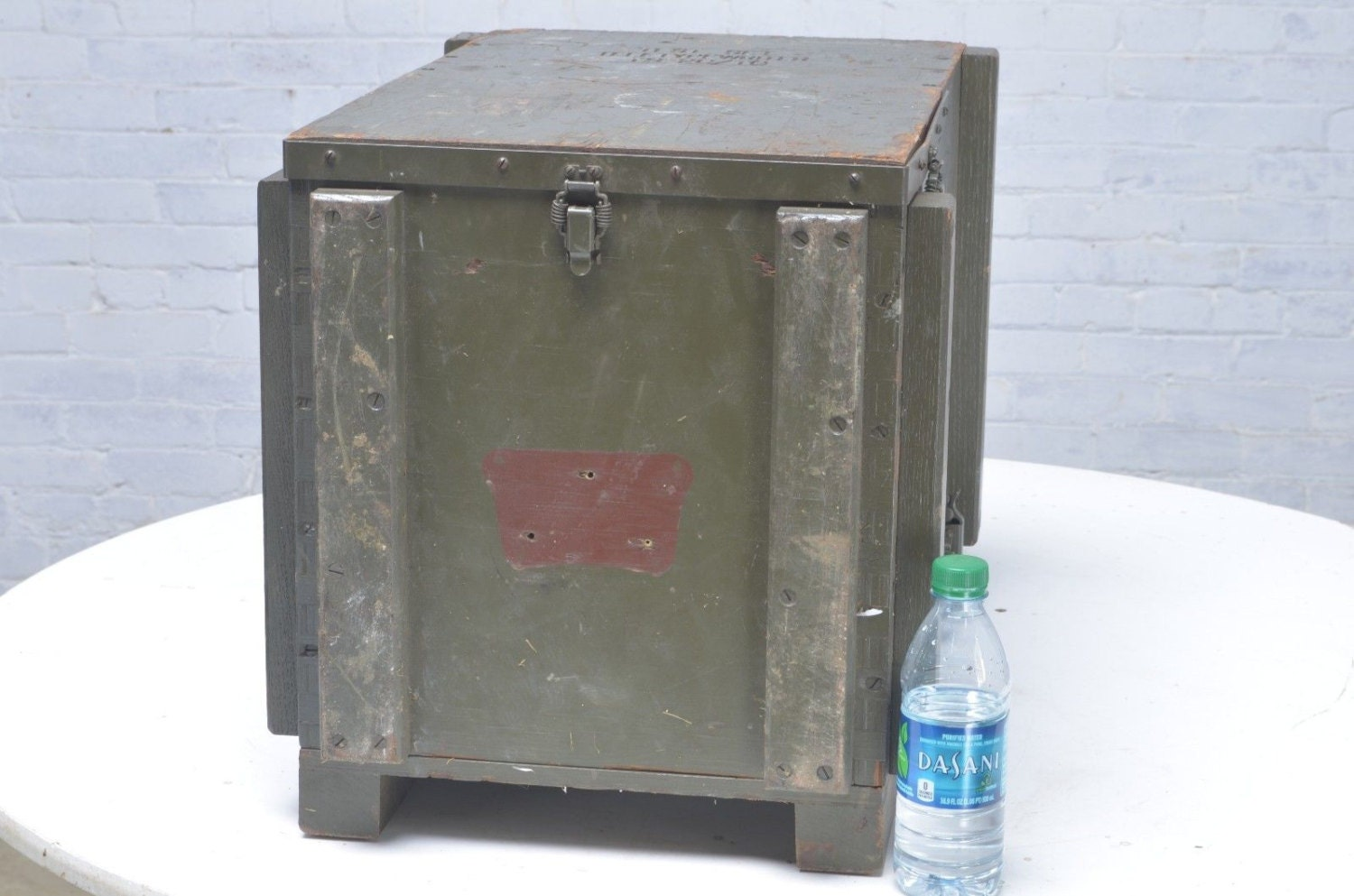 Industrial military tele typewriter wood storage box end for Table tele