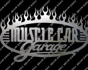 Muscle Car Garage Fire Flames Speed Shop Mancave Sign Plasma Metal Art Gift Idea