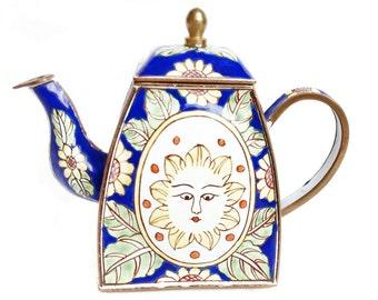 Sunflower teapot - miniature enamel teapot - Charlotte di Vita teapot - Trade + Aid - sun face