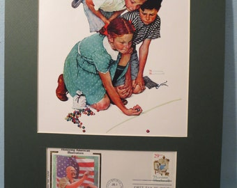Norman Rockwell's - Marble Champion & First Day Cover of the Norman Rockwell stamp