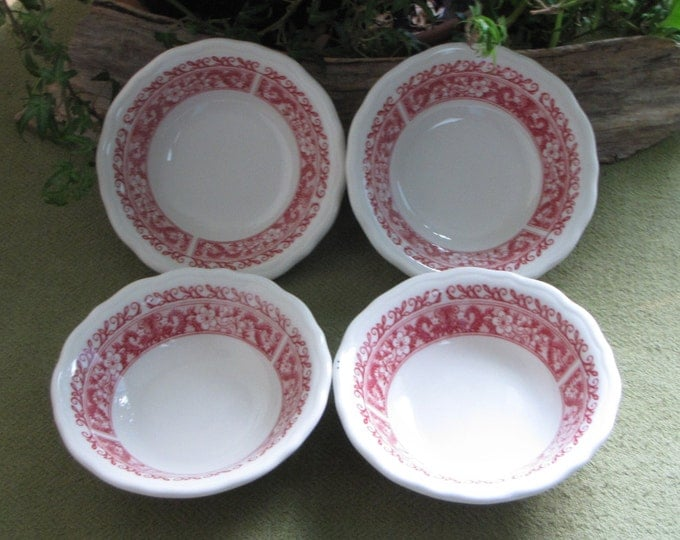 Strawberry Hill Dessert Bowls Syracuse China Restaurant Ware Discontinued Set of Four (4) Vintage Dinnerware and Replacements