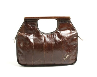 Vintage 70's Dark Brown Real Leather Patchwork Handbag, Top Handle Bag