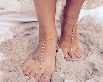 Bridal Anklet / Shoeless Sandal / Beachy Bridal  Sandal / Barefoot Beach Sandal