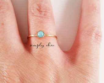 Amazonite Gemsone Ring ONE RING (Gold Sterling Silver Mint Aqua Green Gemstone Stacking Ring Gifts Under 50)