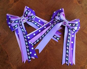 Pony Girl Horse Show Hair Bows/Purple, purple, & ponies/equestrian hair accessory