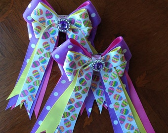 Easter Hair Bows 4 Shows/Spring hair accessory/purple sparkle