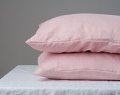 Set of 2 linen pillow covers Stone Washed pink/peach  + wooden buttons flax linens bedroom buttoned cases
