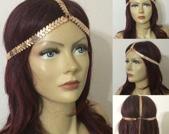 Rose Gold Head Piece, Hair Piece, Boho Head Chain, Bohemian Style Hair Chain, Summer Accessories