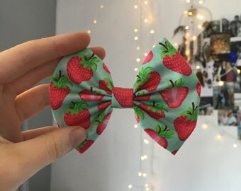 Blue Strawberry Bow