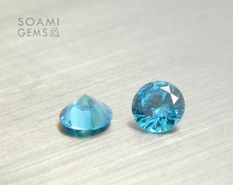 Loose Cubic zirconia round blue aquamarine