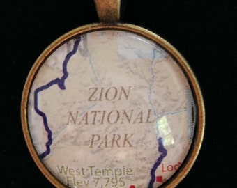 "Zion National Park Utah pendant with 24"" chain"