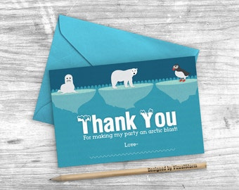 Arctic Animal Thank You Card 4x6 Arctic Party Cards Polar Bear Seal Puffin Icebergs Winter Birthday Thank You Notes Printable Arctic Cards