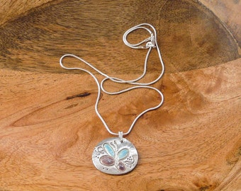 Silver oval necklace with enamelled butterfly wings