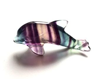 Fluorite Dolphin miniature figurine carving