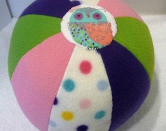 Fabric Ball, Ball Softie, Fabric Beach Ball, Jingle Ball,Fleece Ball, Owl Ball,  Ball for Baby, Toy Ball, Ball with Bells, Plush Ball