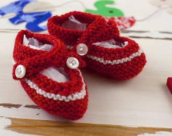 cutest baby booties // hand-knit // red with white stripe