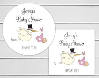 Baby Shower Stickers, Girl Baby Shower Stickers, Baby Shower Thank You Stickers  (#032-G)