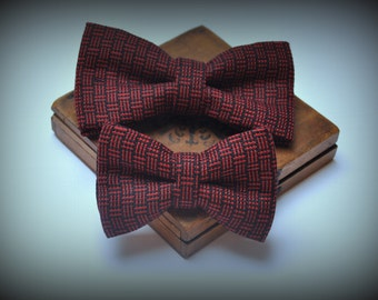 Wedding Set for Father and Son. Dad and Son Geometric Bow ties. Linen Bow Tie. Plaid Bow Ties