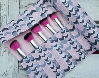 Pink and Grey Chevron Brush Roll