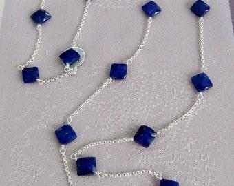 Lapis Lazuli & Swarovski rondelle crystal necklace