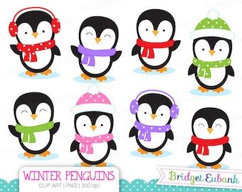 CLIP ART, Penguin Clipart, Winter Penguins Clip Art, Penguin Clipart, 8 High Quality PNG Images, Instant Download