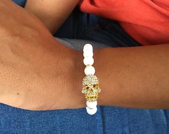 White coral skull bracelet