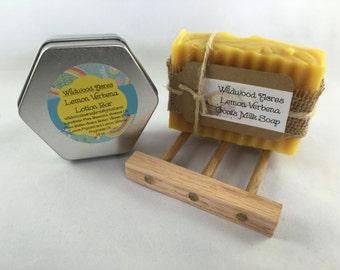 Lemon Verbena Goat Milk Soap & Lotion Bar with Oak Soap Dish: Gift Set