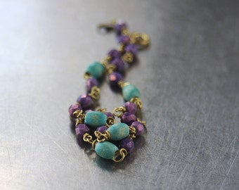 Turquoise and purple anklet, Purple glass, turquoise wood, Gold brass anklet, Body jewellery, colourful ankle bracelet, turquoise anklet