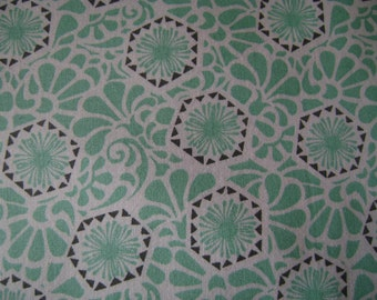 Turquoise Print Cotton Fabric Sold by the Yard
