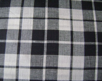 Madras Black & White Check Cotton Fabric Sold by the Yard