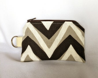 Coin Purse - Brown Chevron Stripe