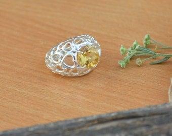 Citrine Ring, Silver Ring, November Birthstone Ring, Birthday Ring, Luck Energy Ring, Healing Ring, 925 Sterling Silver Bezel Ring Size 7
