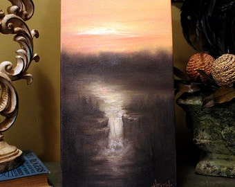 """Waterfall Painting, Small Oil Painting, Sunset Painting, Vertical Painting, """"ODYSSEY"""" Original Tonalist Landscape Art"""