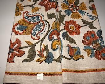 Linen Kitchen Tea Towel Vintage Bold Floral in rust, brown colors New