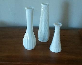 Three Milk Glass Bud Vases