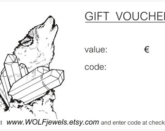 Jewelry gift voucher = box, value 20, 50, 100 or 150 euro, choose your amount, jewelry gift card, gift certificate, jewelry gift card