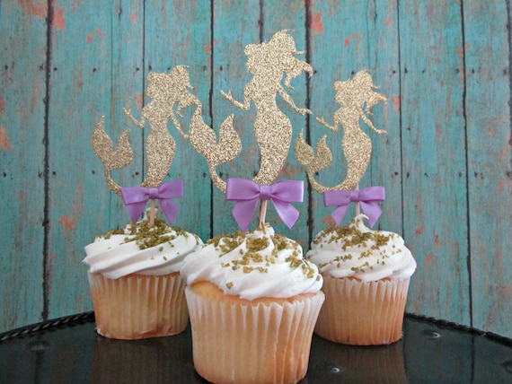 12 Gold Mermaid Cupcake Toppers Mermaid Party Decor Mermaid First Birthday Under the Sea Party Decor Under the Sea Cupcake Toppers Mermaid