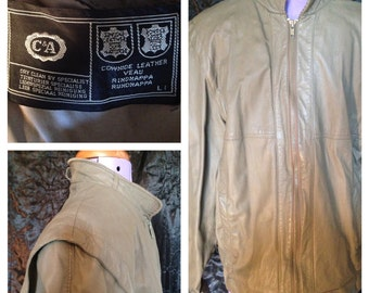 80's mens c & a green leather jacket size m (uk)