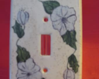 Handpainted Lilac Pansy Light Switch Cover