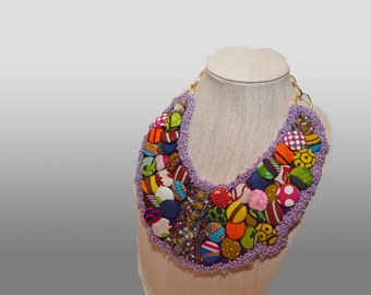 African Print Button Necklace,Statement Necklace, Ankara Bib Necklace, Ankara Accessories, African Jewelry, Statement Piece, Boho Necklace
