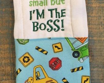 Construction burp cloth, Boy burp cloth, Burp cloth, Baby burp cloth, Baby gift, Embroidered burp cloth, Burp rag, Boy burp rag