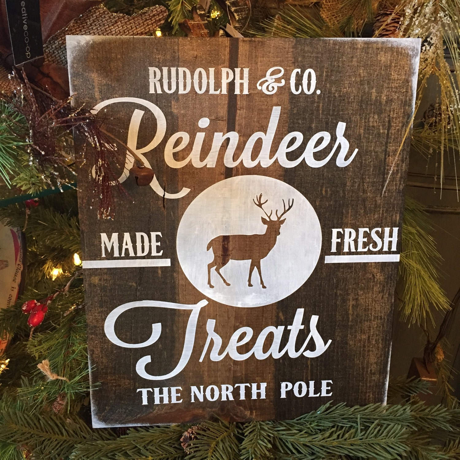 Reindeer Sign Rudolph Christmas Sign Holiday Sign Rustic
