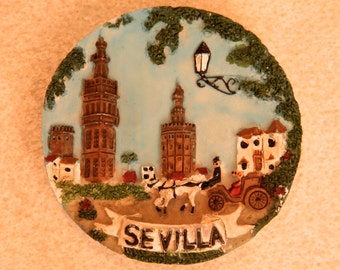 TWO TOURIST SOUVENIR Resin 3D Magnets from Sevilla, Spain