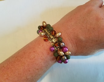 Vintage Beaded Bracelet in Jewel Tones