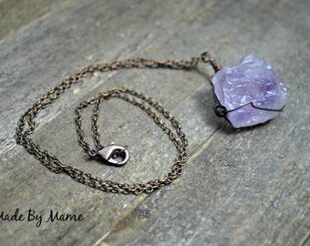 Rustic Crystal Necklace, Healing Rough Gemstone Jewelry, Boho, Gypsy, Bohemian Jewelry, Raw Fluorite, Oxidized Copper, Purple, Shabby Chic