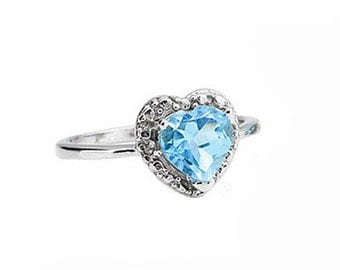 1.15 CT Blue Topaz & Diamond Ring