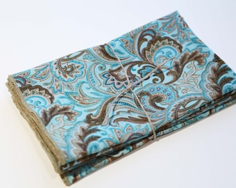 Turquoise & Brown Paisley Cloth Napkins