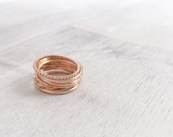 Rose Gold Filled Stacking Rings / Knuckle Rings