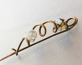 Wire Wrapped Bronze Shawl Pin with Faceted Agate Gemstones